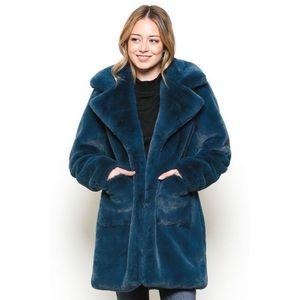 Jackets & Blazers - 🐻DEEP PETROL FAUX FUR COAT🐻